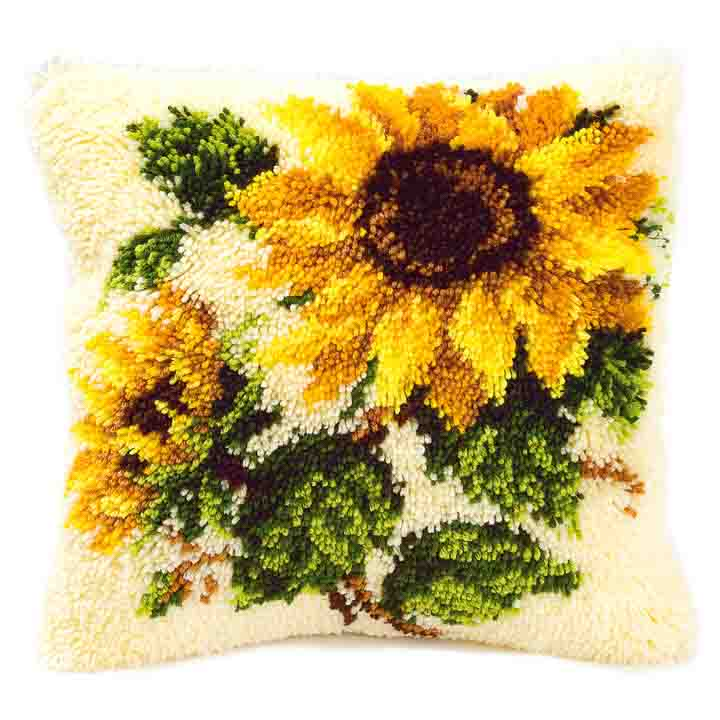Vervaco Latch Hook Kit: Cushion: Sunflowers