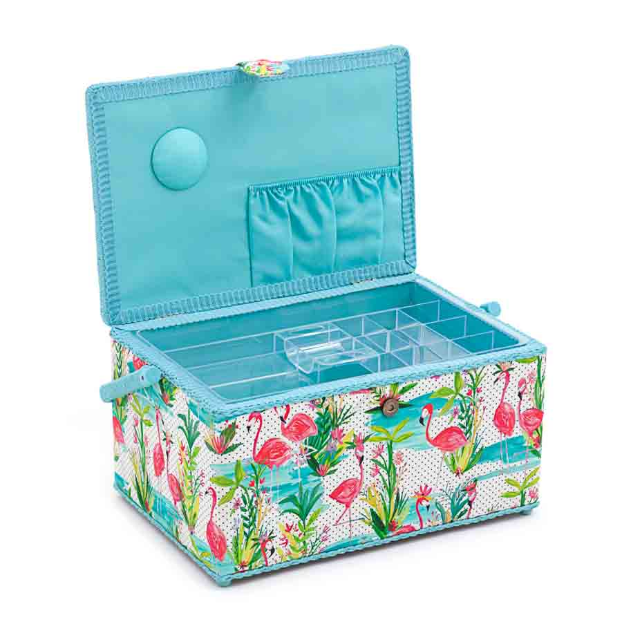 HobbyGift Sewing Box (XL): Flamingos | HGXL_324 Bird Print Sewing Box 2
