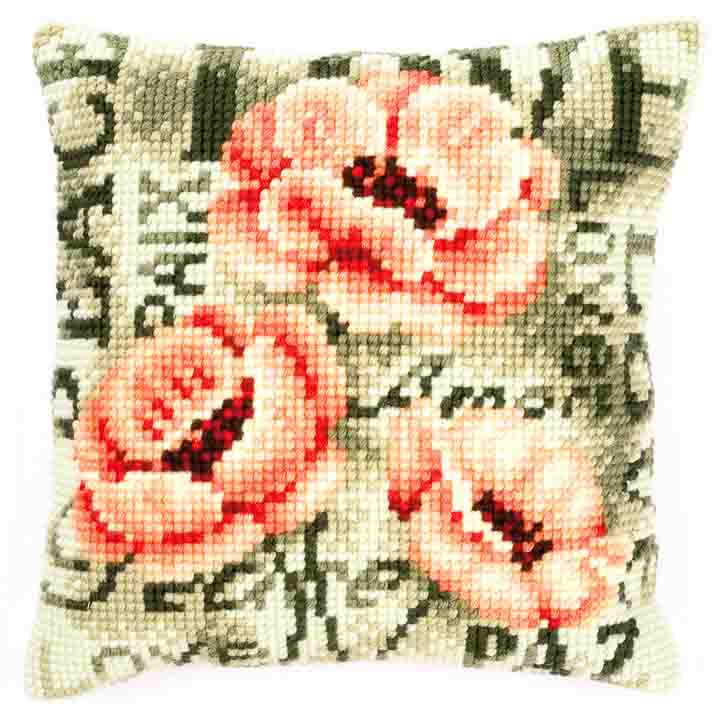 Vervaco Cross Stitch Cushion: Poppy Flowers & Nature CSCK