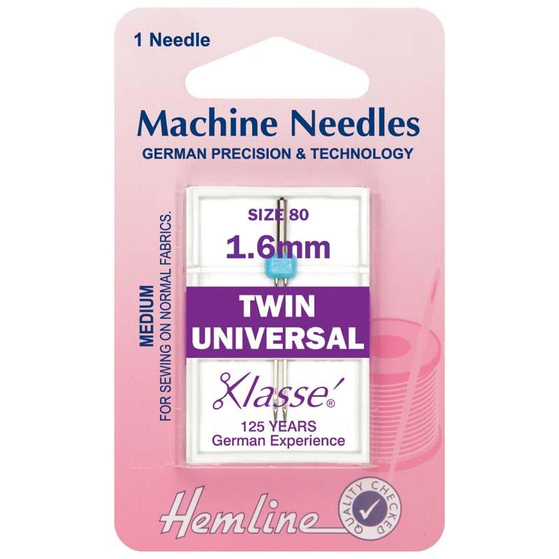 Hemline Sewing Machine Needles: Twin Universal: 80/12, 1.6mm: 1 Piece Twin Needle