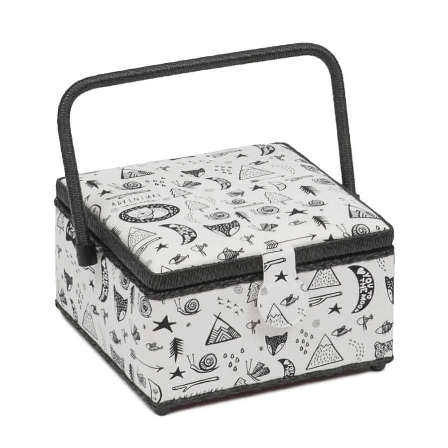 HobbyGift Classic Collection: Medium Square Sewing Box: Forest | HGMSQ_468 Tree Print Sewing Box