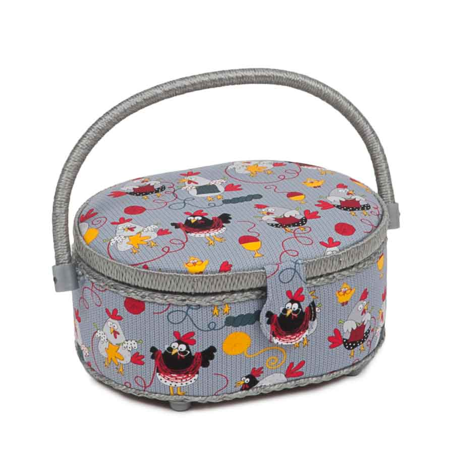 HobbyGift HGSO_479 | Classic Collection | Small Oval Sewing Box | Chicken Stitch