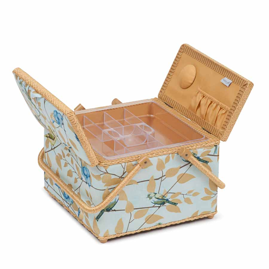 HobbyGift Classic Collection: Twin Lid Square Sewing Box: Fly Away | HGTLE_477 Bird Print Sewing Box 2