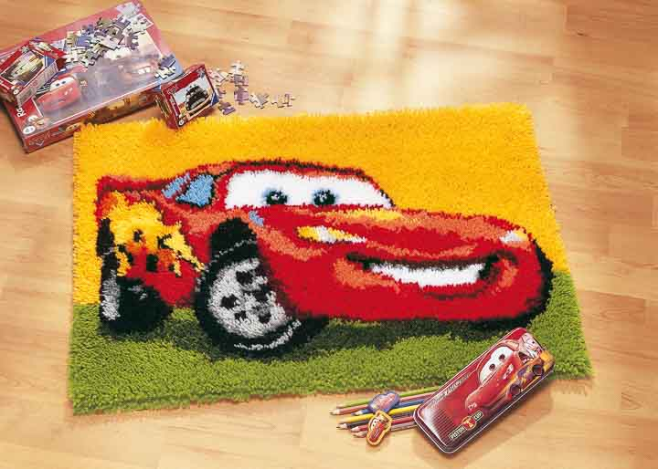 Vervaco Latch Hook Kit: Rug: Lightning McQueen Latch Hook Rug & Wall Hanging Kit