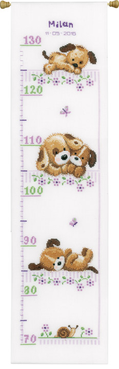 Vervaco Counted Cross Stitch Height Chart: Playing Dogs Height Charts CSK
