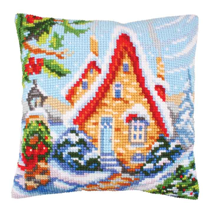 Collection D Art Cross Stitch Cushion: Fairy Cottage Christmas CSCK