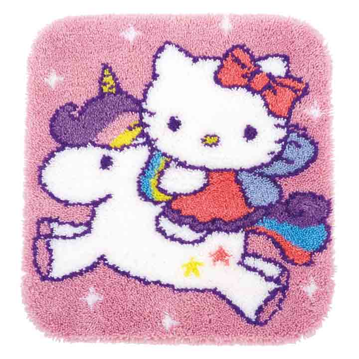 Vervaco Latch Hook Kit: Rug: Hello Kitty and Unicorn