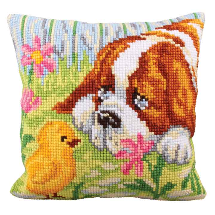 Collection D Art Cross Stitch Cushion: Encounter Cats & Dogs CSCK