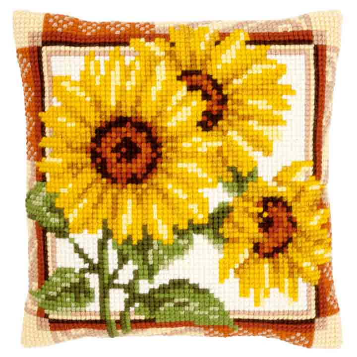 Vervaco Cross Stitch Cushion: Sunflowers Flowers & Nature CSCK