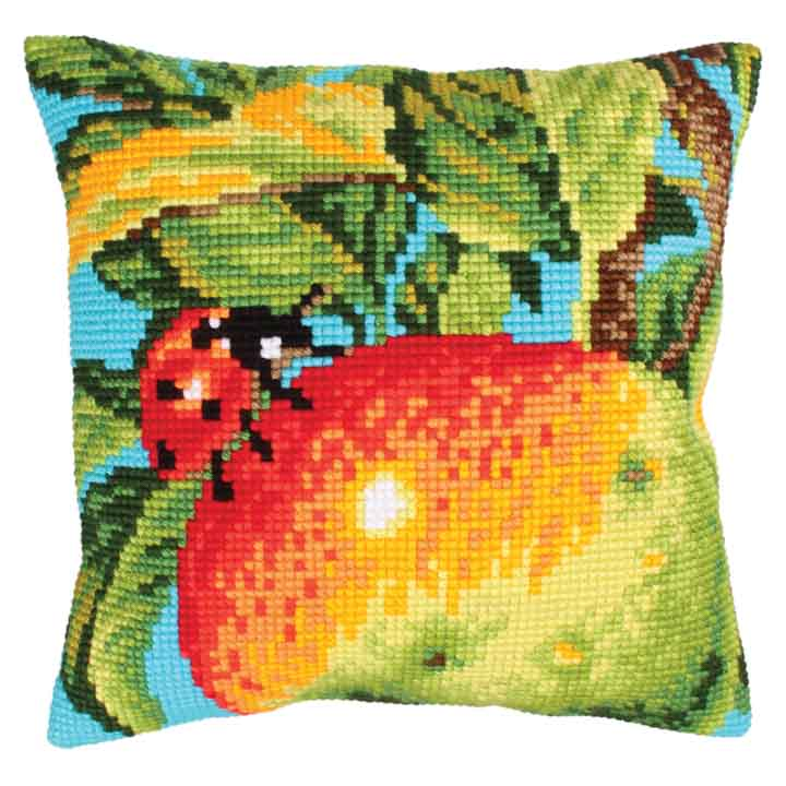 Collection D Art Cross Stitch Cushion: Ladybug on the Apple Insects & Bugs CSCK