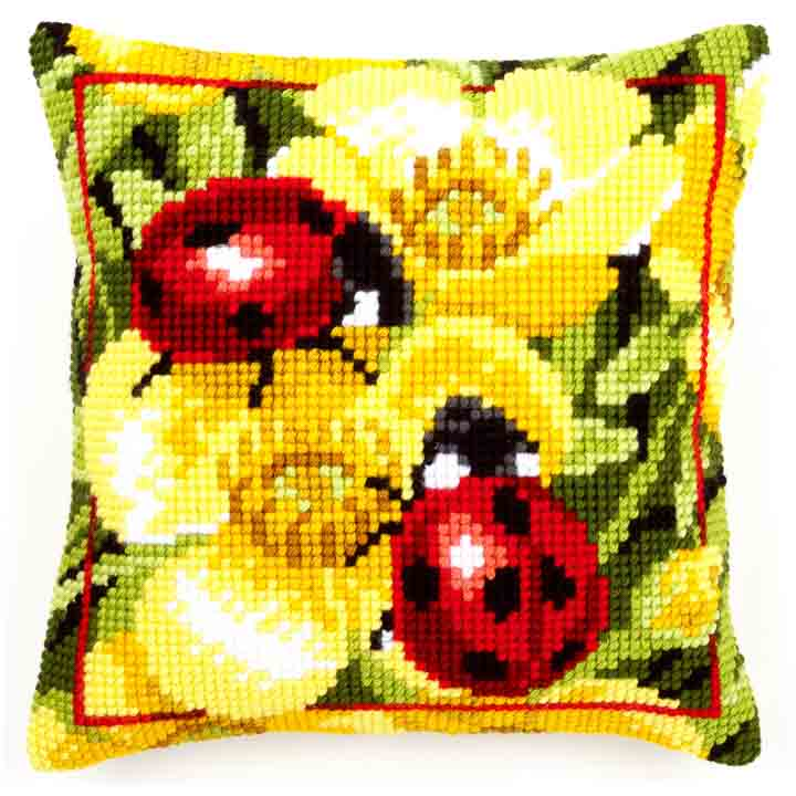 Vervaco Cross Stitch Cushion: Ladybird on Yellow Flowers Insects & Bugs CSCK
