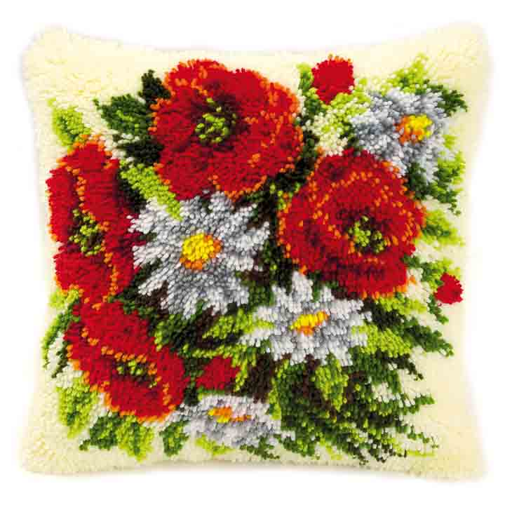 Vervaco Latch Hook Kit: Cushion: Poppies