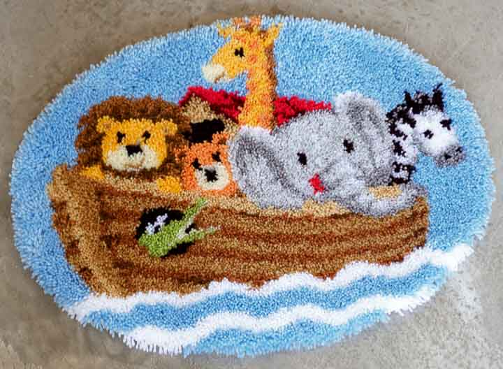 Vervaco Latch Hook Shaped Rug Kit: Noah's Ark Latch Hook Rug & Wall Hanging Kit