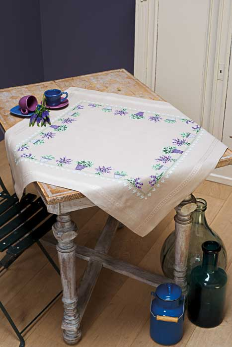 Vervaco Counted Cross Stitch Kit: Tablecloth: Lavender | PN_0165238
