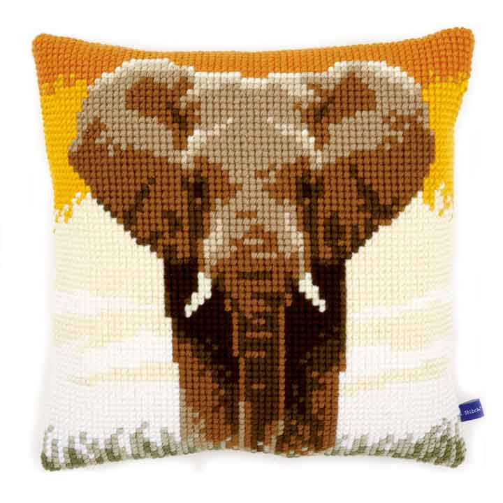 Vervaco Cross Stitch Cushion: Elephant in the Savannah