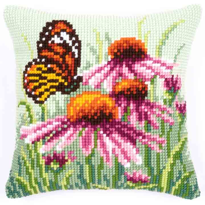 Vervaco Cross Stitch Cushion: Daisy Butterfly