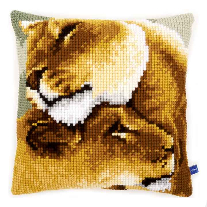 Vervaco Cross Stitch Cushion: Lion Friendship Animals & Birds CSCK