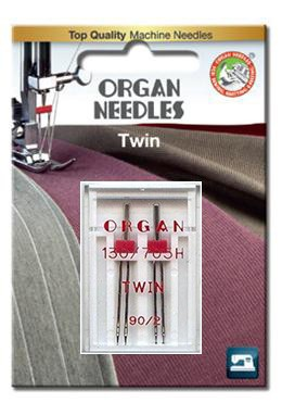 Organ Twin Needles | Size 90 / 2 | 2 Needles Per Pack