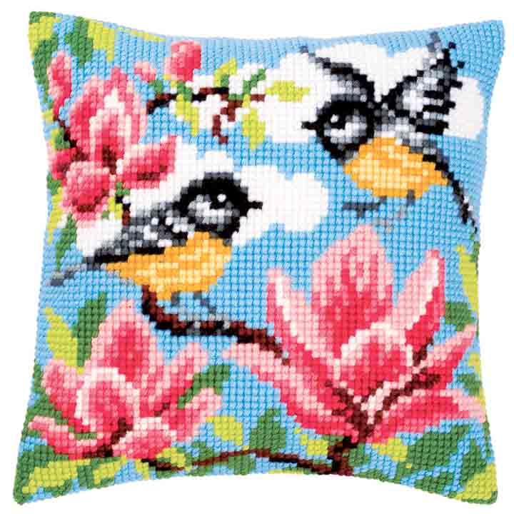 Vervaco Cross Stitch Cushion: Blue Tits