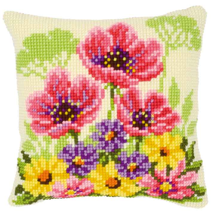 Vervaco Cross Stitch Cushion: Poppies