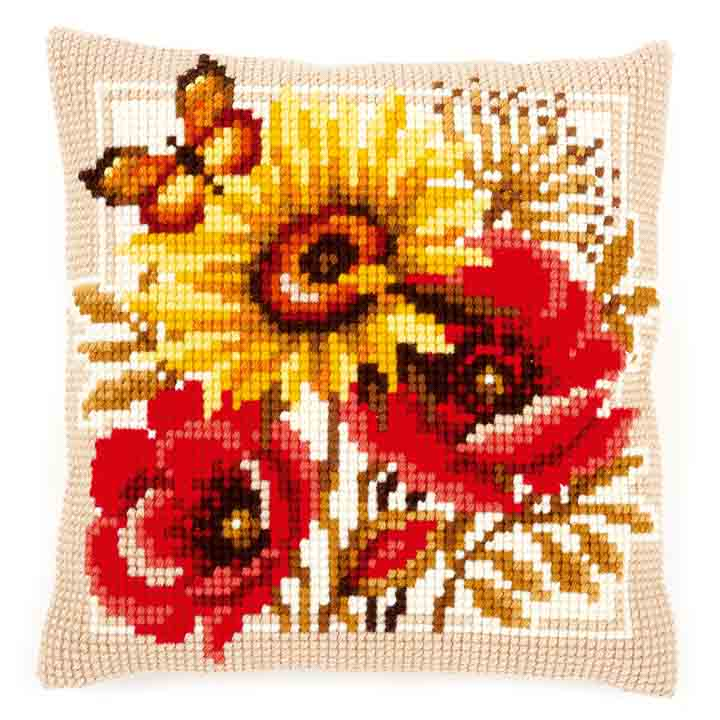 Vervaco Cross Stitch Cushion: Poppies and Sunflowers Flowers & Nature CSCK
