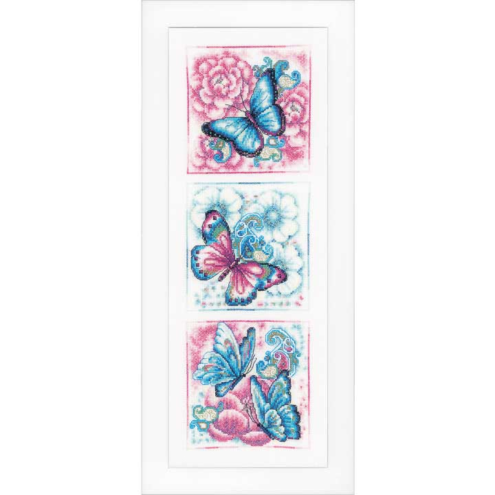 Vervaco Counted Cross Stitch: Blue Butterflies Insects & Bugs CSK