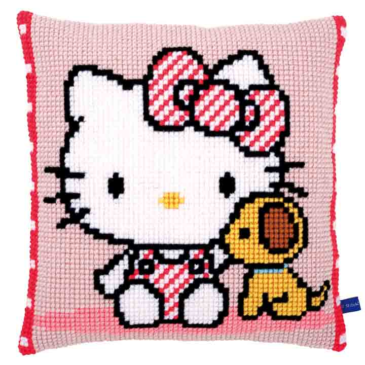 Vervaco Cross Stitch Cushion: Hello Kitty with Dog