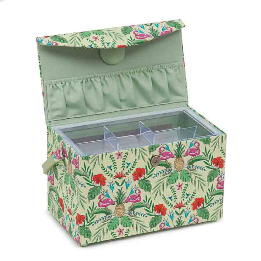 HobbyGift Classic Collection: Fold Over Sewing Box: Tropical Lime | HGFB_457 Tree Print Sewing Box 2