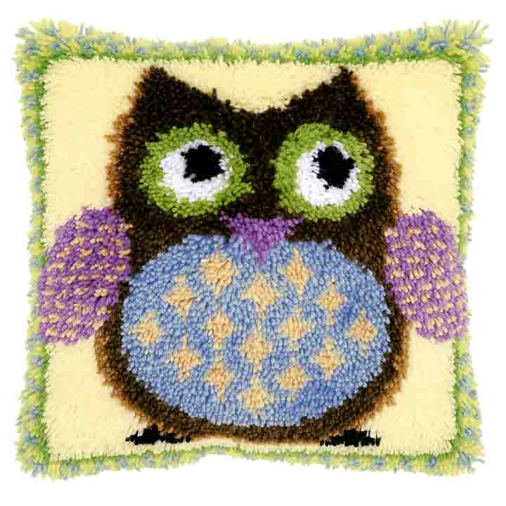 Vervaco Latch Hook Cushion Kit: Mr. Owl Latch Hook Cushion Kit