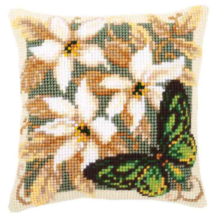 Vervaco Cross Stitch Cushion: Green Butterfly Insects & Bugs CSCK