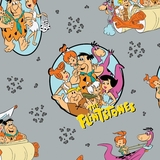 The Flintstones Stone Age Family on Grey Fabric