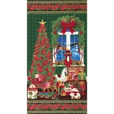 Tis the Season Christmas Metallic Fabric Panel