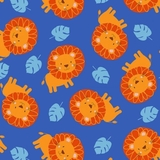 Jungle Jam Orange Lions On Royal Blue Fabric