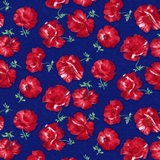 Tossed Poppies on Navy Fabric