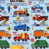 Traffic Jam Trucks on Sky Fabric