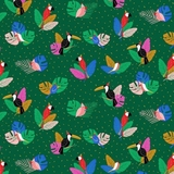 Tropical Jammin - Tiki Birds on Green Fabric