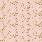 Up, Up & Away Metallic Gold Birds on Pink Fabric