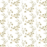 Up, Up & Away Metallic Gold Birds on White Fabric