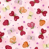Valentines Love Bugs & Butterflies on Pink Fabric