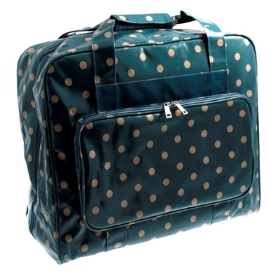 Value Vinyl Sewing Machine Bag Blue With Polka Dots Sewing Machine Bags