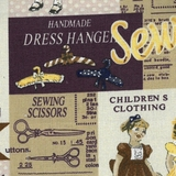 Vintage Sewing & Fashion Labels Fabric For Craft & Bag Making