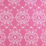 White Decorative Animals on Pink 1 Metre Fabric