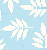 White Leaves on Blue 1 Metre Fabric
