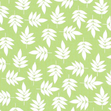 White Leaves on Green 1 Metre Fabric