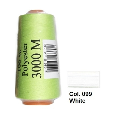 White Overlocking Thread 3000m