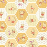 Disney Winnie The Pooh on Honeycomb Yellow Fabric