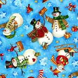 Winter Magic Tossed Snowman on Blue Fabric Fat Quarter