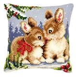 Winter Scene Bunnies Cross Stitch Cushion