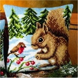 Winter Scene Squirrel and Robin Cross Stitch Cushion