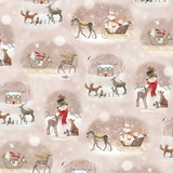 Woodland Dream Winter Vignettes on Light Taupe Fabric